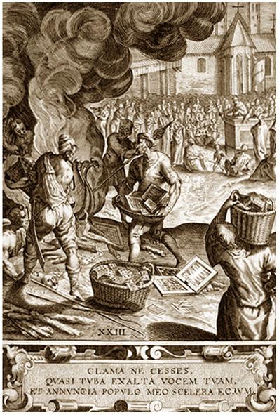 """Сожжение """"еретичских"""" книг. средневековая гравюра."""
