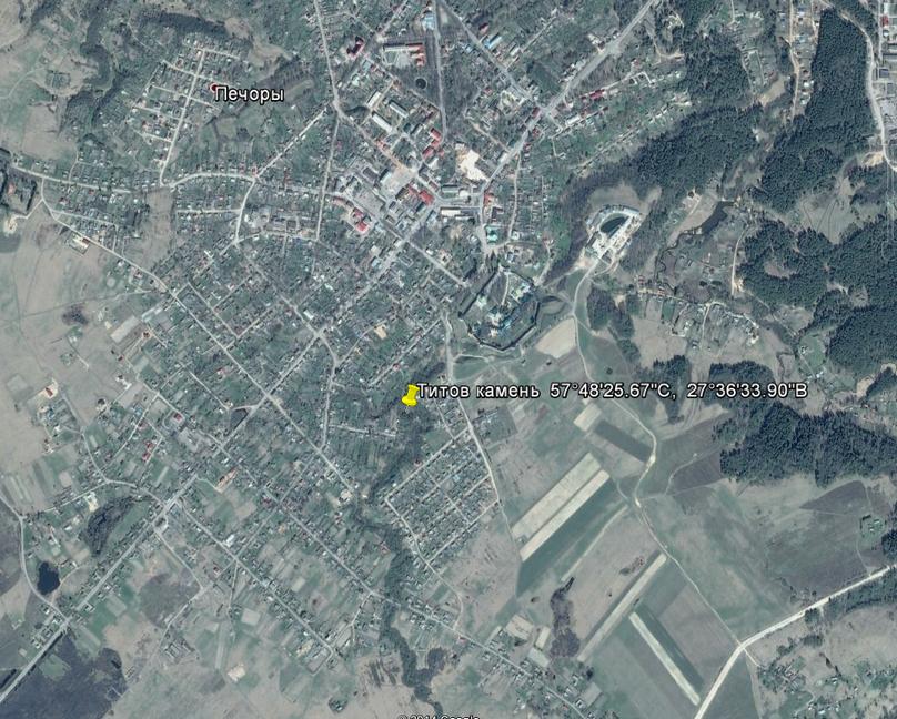 Местоположение Титова камня на карте.