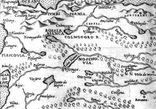 Белая Русь (Rossia Bianca) в районе Новгорода и Холмогор с карты Дж. Рушелли, 1561