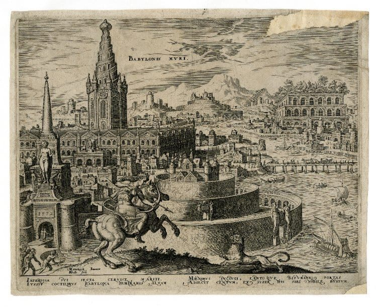 Die Sieben Weltwunder. Die Pyramiden von Giseh, die Hängenden Gärten der Semiramis, die Olympische Statue des Zeus, der Artemis-Tempel zu Efes, das Halikarnassische Mausoleum, der Koloß von Rhodos und der Leuchtturm von Alexandria.