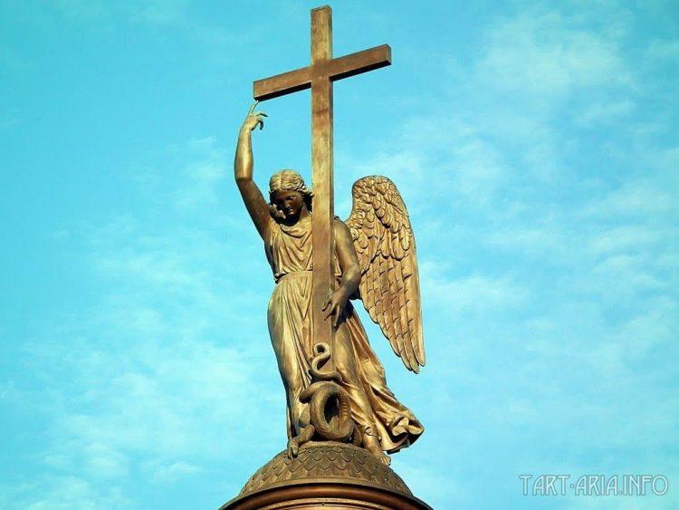 """Ангел"" на вершине Александрийского столпа. Дворцовая площадь. Санкт-Петербург."