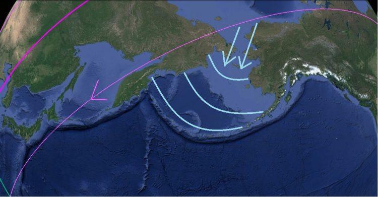 Карта. Сдвиг полюсов. Берингов пролив общий вид