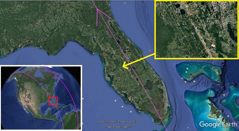 Карта. Сдвиг полюсов. Флорида следы потока средний вид