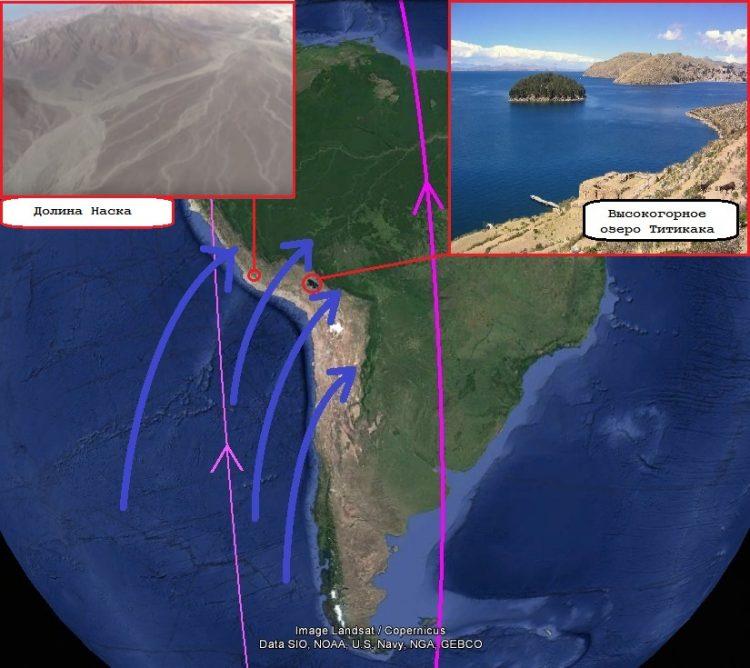 Карта. Сдвиг полюсов. Южная Америка потоки из океана