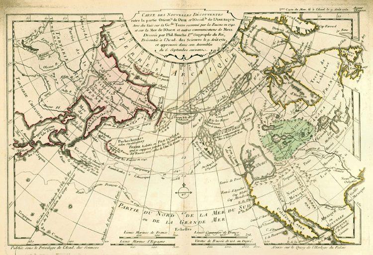 Карта. Сдвиг полюсов. Море на севверо-западе США 1782