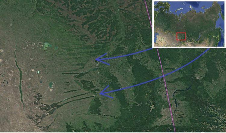 Карта. Сдвиг полюсов. Поток в районе ленточных боров Алтай 2