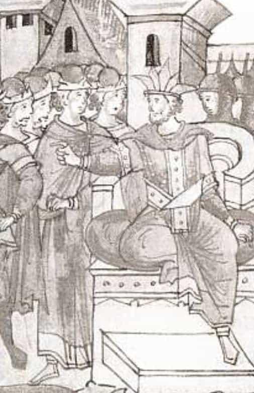 Хан Батый повелевает умертвить Князя Михаила Черниговского. Средневековая русская миниатюра.