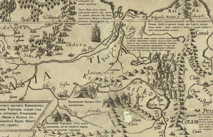 Югра, Лукоморье и Катайское море. Фрагмент карты Даниэля Келлера 1590г.