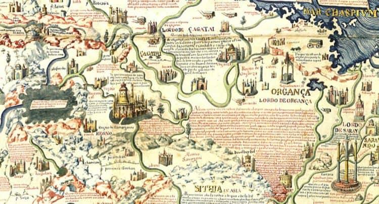 Органа, Катай и Катайское море. Фрагмент карты монаха Фра Мауро 1450г. Карта сориентирована на юг.