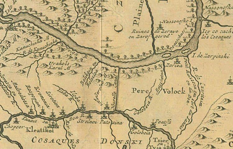 Фрагмент средневековой карты, с нанесённым на неё Волгодонским каналом. Карта сориентирована не на север, а на восток.