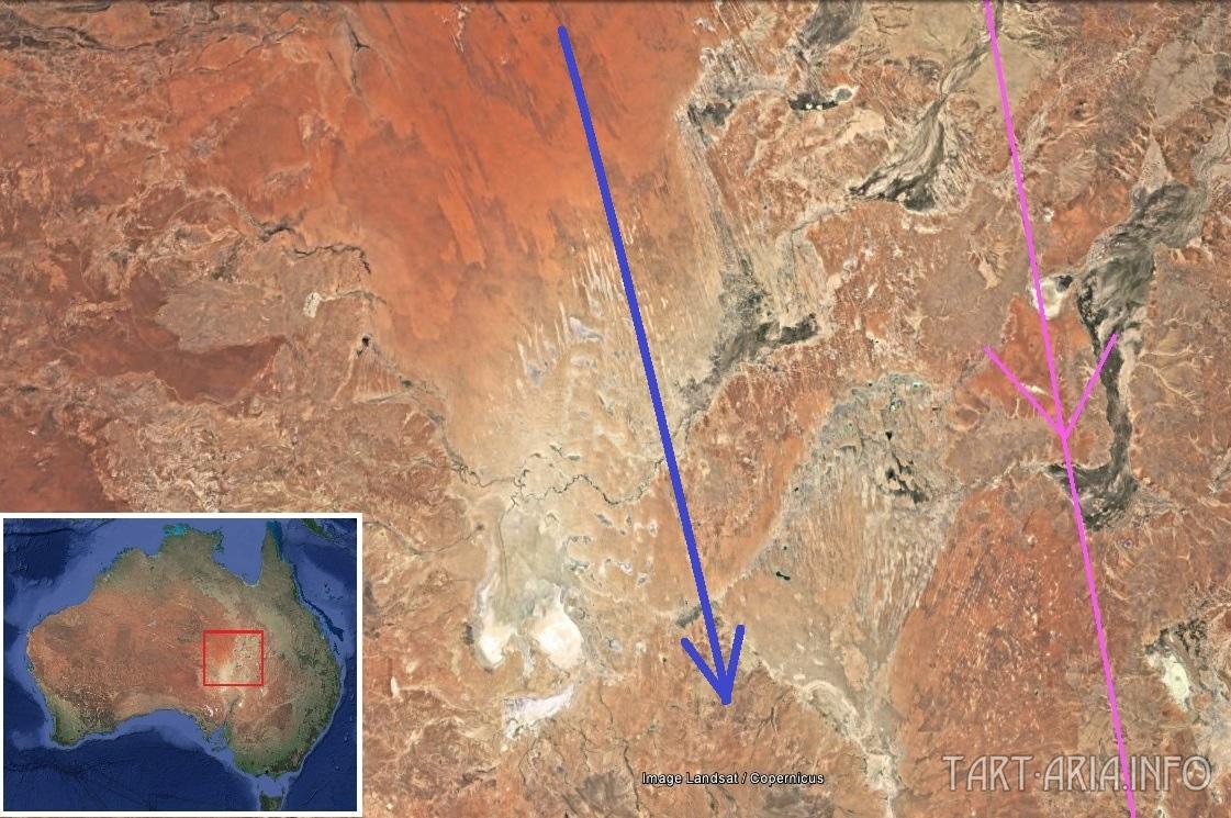 Карта. Сдвиг полюсов. Австралия Центральная следы потока 3