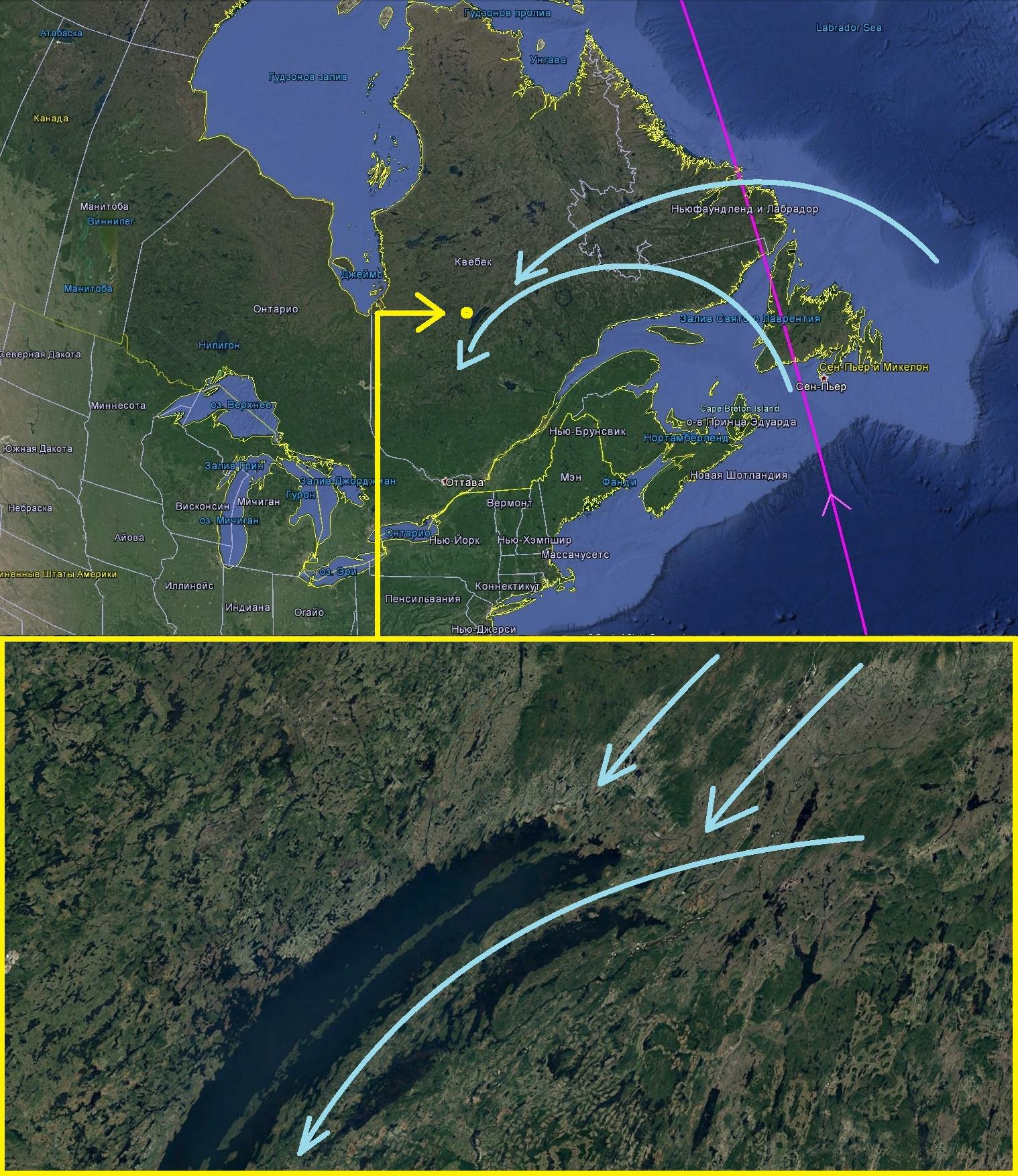 Карта. Сдвиг полюсов. Квебек общий вид 3
