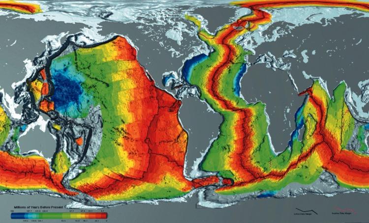 Возраст пород дна океана по данным NASA