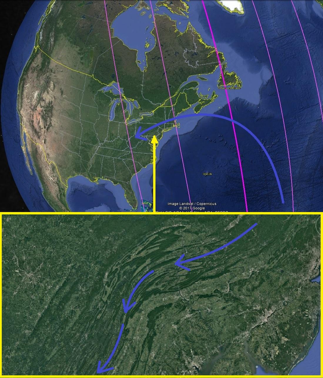 Сдвиг полюсов. Карты. Северная Америка Пенсильвания общий вид 3