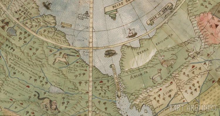Фрагмент карты мира Монте Урбано 1587г.