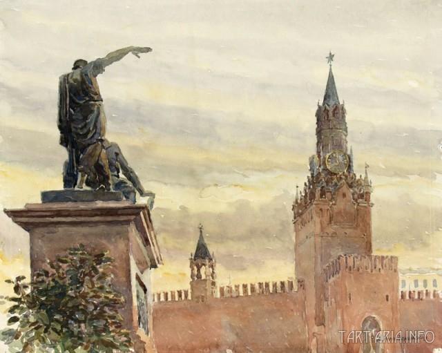 pomník Minina a Požarského na Rudém náměstí, akvarel A. A. Romonadovské, 1945