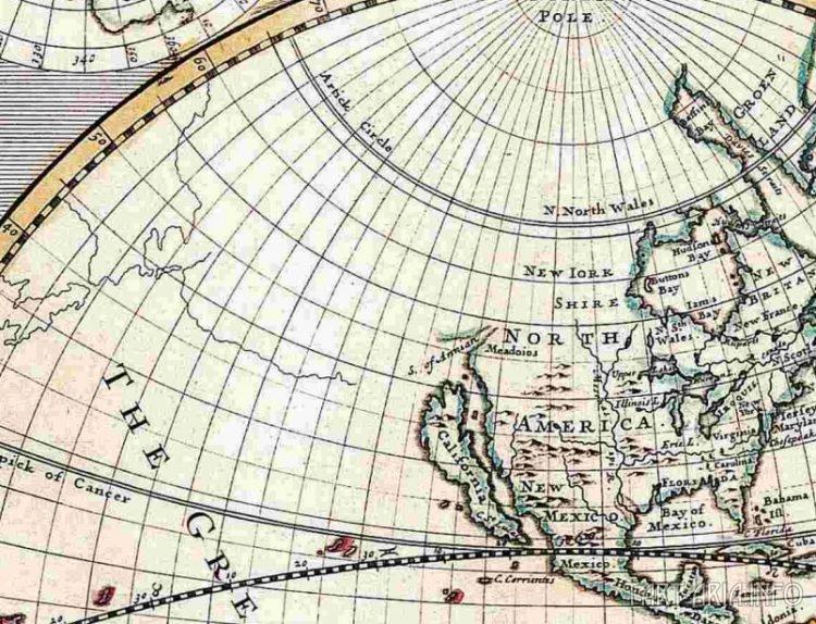 Фрагмент Новой карта мира Джона Сенекса. 1720г. Северо-запад Америки на дне океана