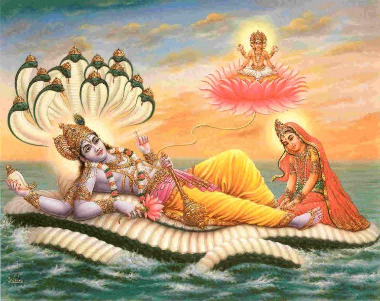 Лакшми массирует стопы своему супругу Вишну