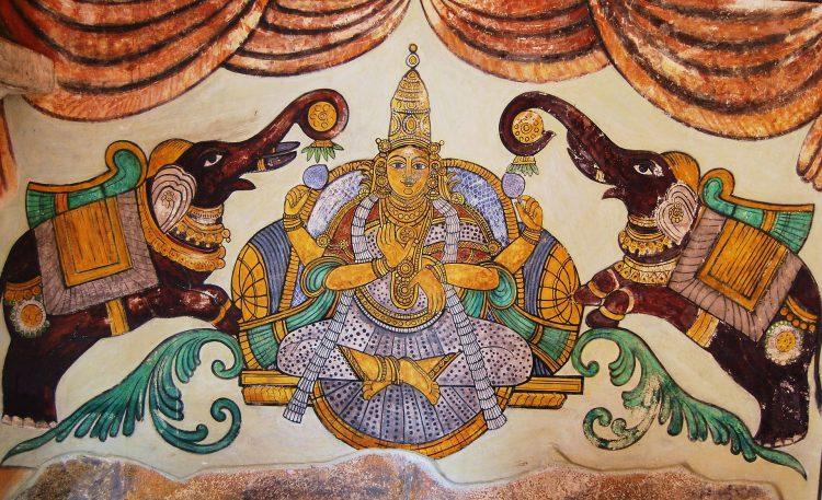 рисунок Лакшми в храме Танжавур, Брихадишвара
