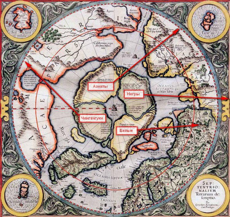 """Карта Гипербореи по версии проекта """"Меркатор""""."""