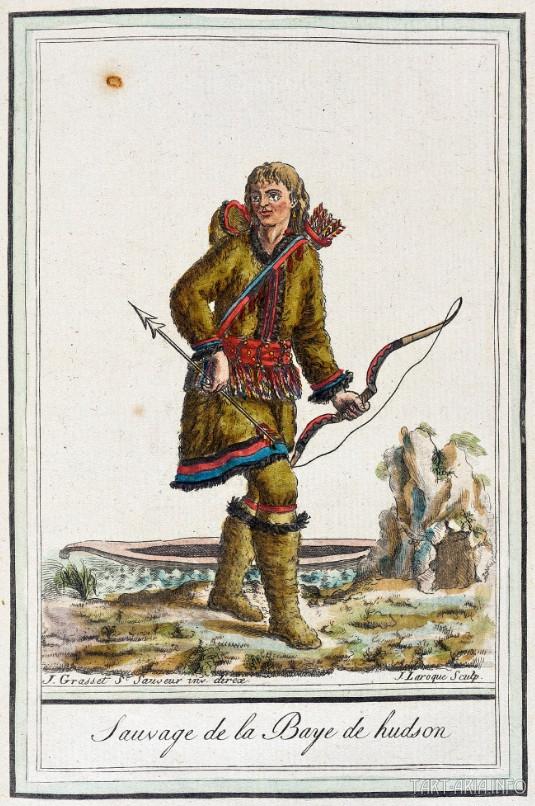 Дикарь Гудзонова залива. Гравюра из альбома Жака Грассе де Сен-Совера. Конец восемнадцатого века.