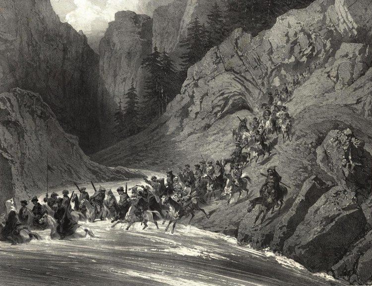 Берег Черного моря. Лихие черкесы отправляются за добычей