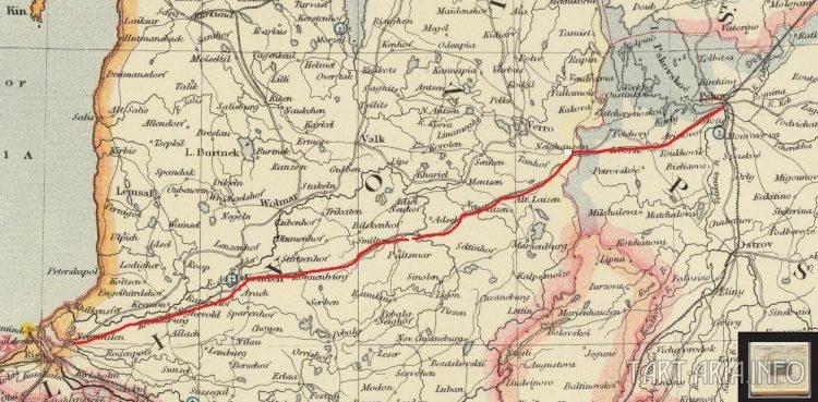 Фрагмент карты Российской империи 1887 г. Letts Son & Co (Лондон)