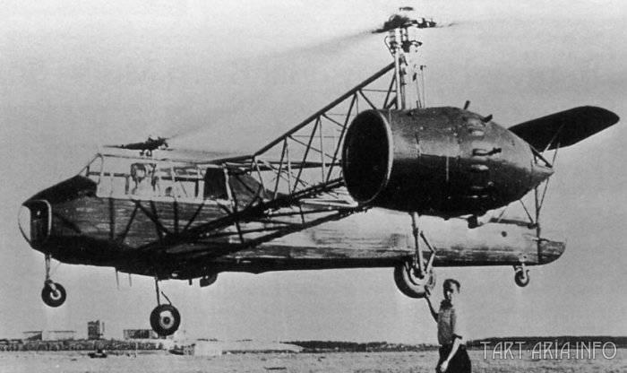 Двухмоторный вертолёт «Омега», созданный в ОКБ-3 Б. Н. Юрьевым и И. П. Братухиным. 1939 г.
