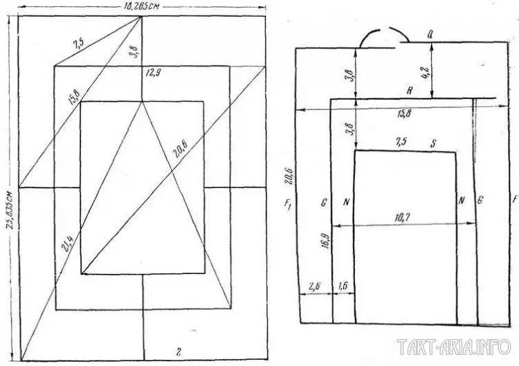 Расчетный чертеж XII в. Старая Рязань. а — «вавилон»; б — отобранные из него линии[Рыбаков, СА, №1]