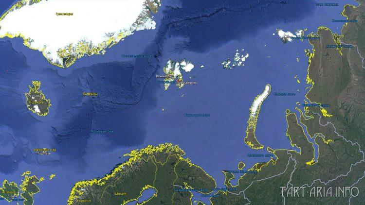 Спутниковая карта района Баренцева моря