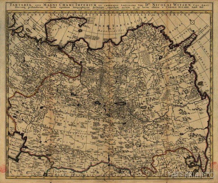 Рис. 23. Карта Тартарии, составленная Николасом Витсеном в 1705 году.