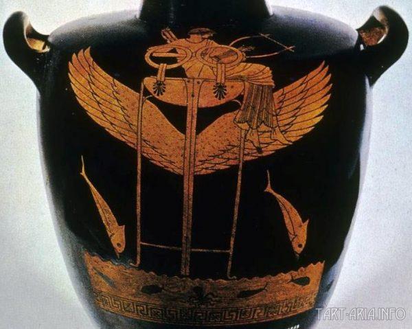 Краснофигурная гидрия с Аполлоном на дельфийской треноге, Григорианский музей этрусского искусства, Ватикан, 6-5 век до н.э. Источник