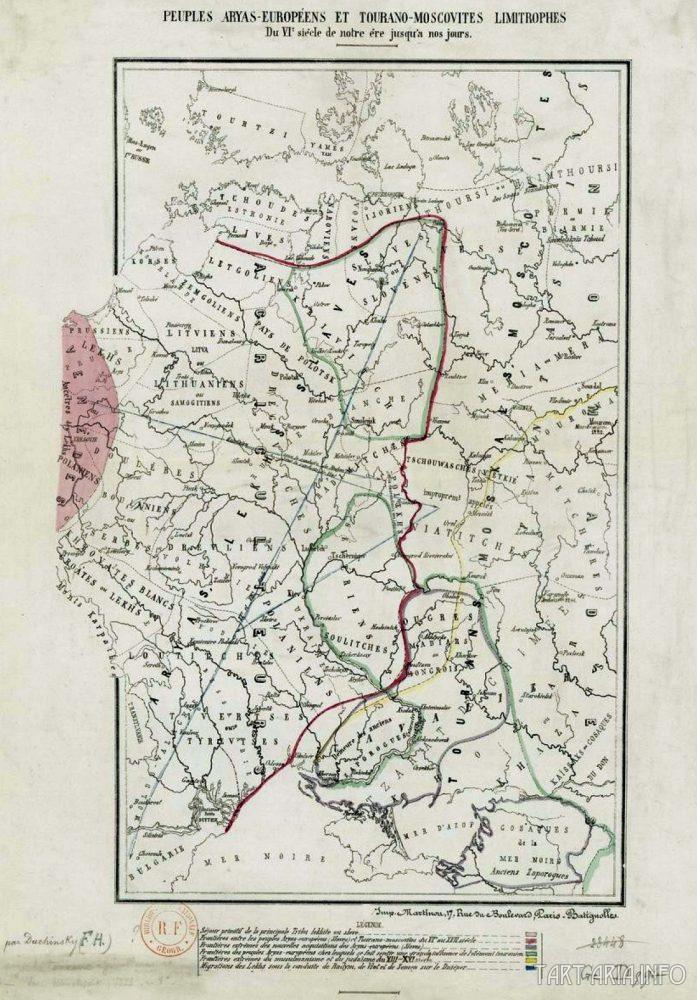 Границы арийско-европейских и турано-московских народов 6 века до наших дней. Источник