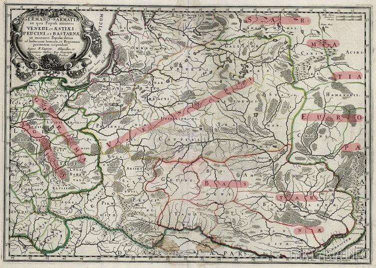 Germano-Sarmatia in qua Populi maiores Venedi, et Aestiaei, Peucini, et Bastarnae in minors (Германо-Сарматия, где проживают большей частью венеды, и меньшей: эсты, пеусины, бастарны), 1655. Источник