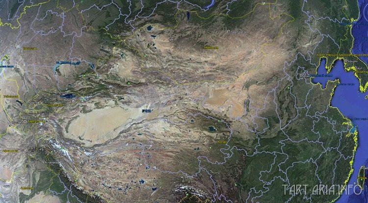 Монгольское плато, спутниковый снимок