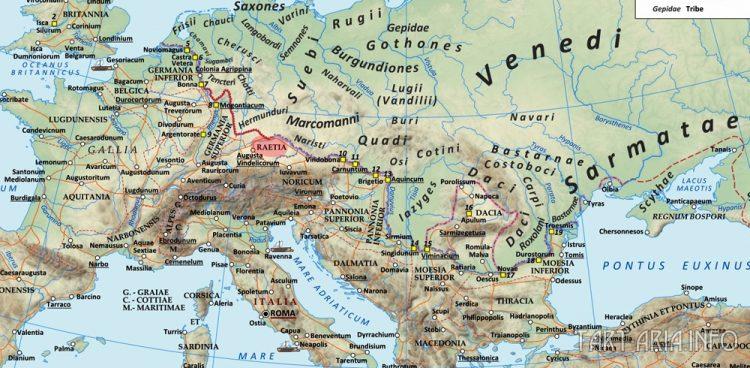 Римская империя во времена Адриана (117 - 138 гг. Н.э.), с провинцией Раетия, занимавшая территорию, являющуюся теперь Швейцарией, Тиролем (Австрия) и Германией к югу от Дуная. Источник