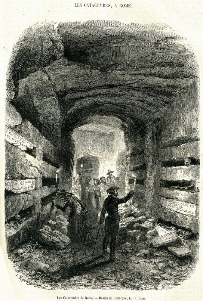 Посетители римской катакомбы в 1860-х годах на гравюре Le Magasin Pittoresque. Источник