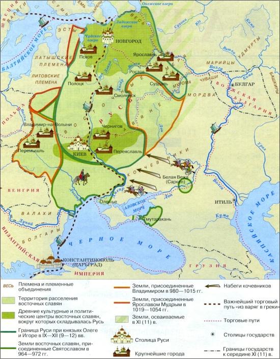 Киевская Русь в 10-м веке. (1000 лет назад)