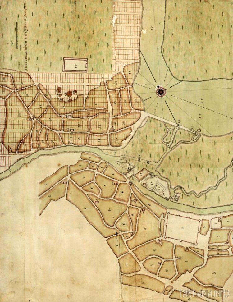 """План перепланировки Тулы 1740 год. Перепланировка коснулась только """"Заречья"""" (слева вверху)"""