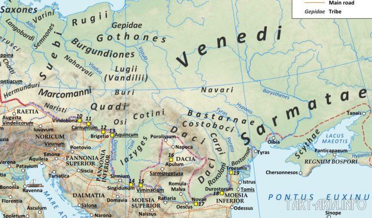 Местонахождение готов на карте Римской империи времен Адриана (117-138гг. н.э.) Источник