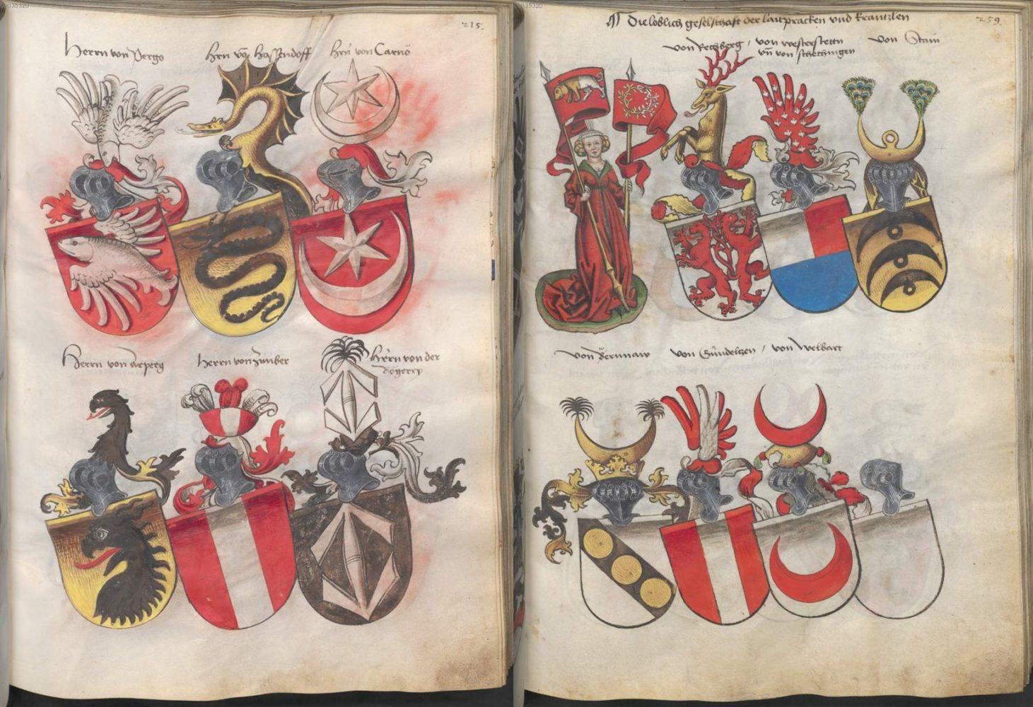 «Grünenberg, Konrad Das Wappenbuch Conrads von Grünenberg, Ritters und Bürgers zu Constanz» (15 век).