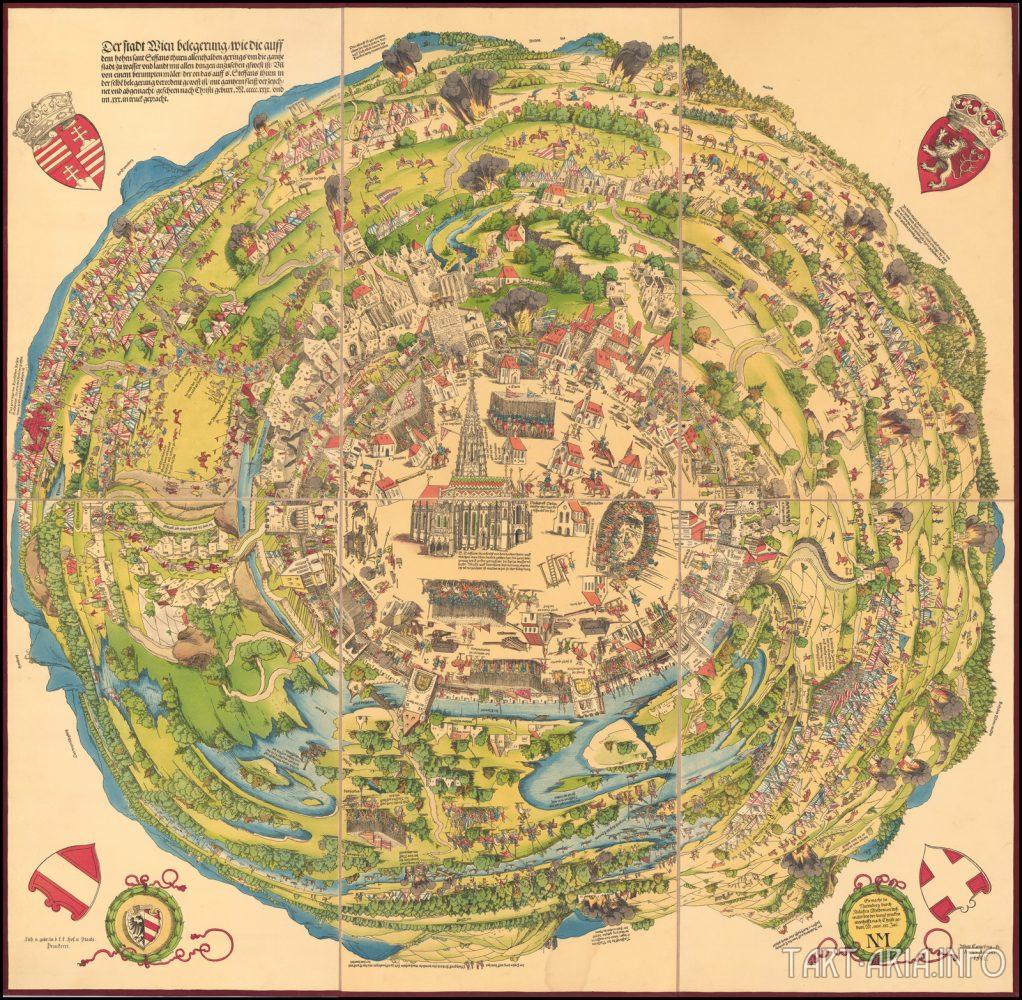 Карта Вены во время осады Турками в 1529 году.