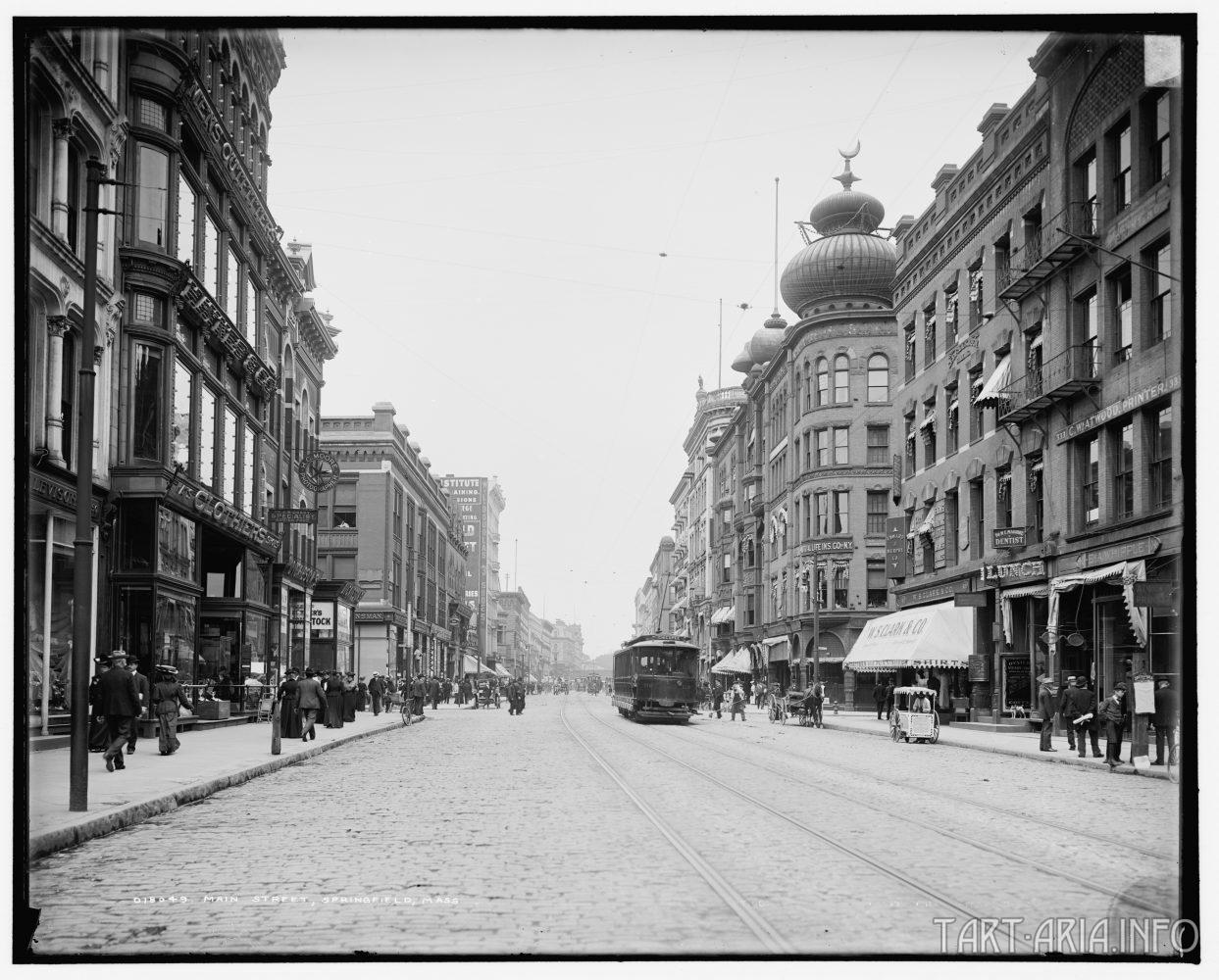 Главная улица города Springfield, штат Massachusetts, США (1905).