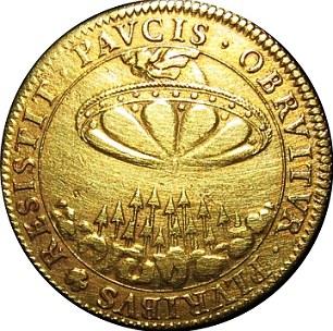 Французская монета 17 века (надпись – RESISTIT PAVCIS OBRVITVR PLURIBUS).